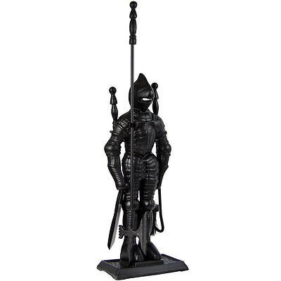 KNIGHT SOLDIER COMPANION SET 4 Piece Black Cast Iron Tools Fireside Accessories