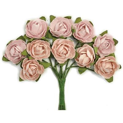 """KAISERCRAFT- MINI PAPER BLOOMS- .5"""" FLOWERS WITH WIRE STEMS- DUSTY PINK"""