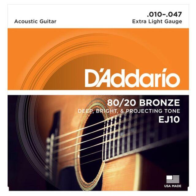 D'Addario EJ10 80/20 Bronze Acoustic Guitar Strings - Extra Light - 10-47