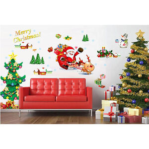 Removable Wall Stickers Christmas Tree The Santa Claus Art Decals Mural FlyP