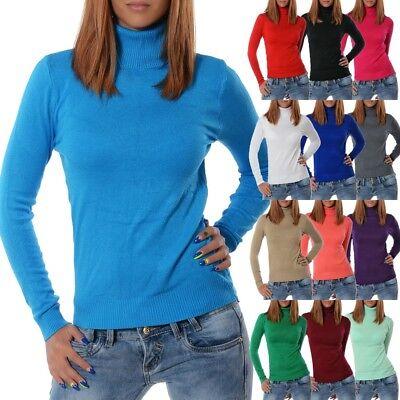 Damen Rollkragen Winter Pullover Rolli Strick Pulli Sweater Langarm Shirt Bluse - Casual Damen Winter Mode