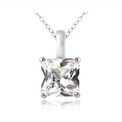 925 Silver Lab Created White Sapphire Square Solitaire Necklace, 18