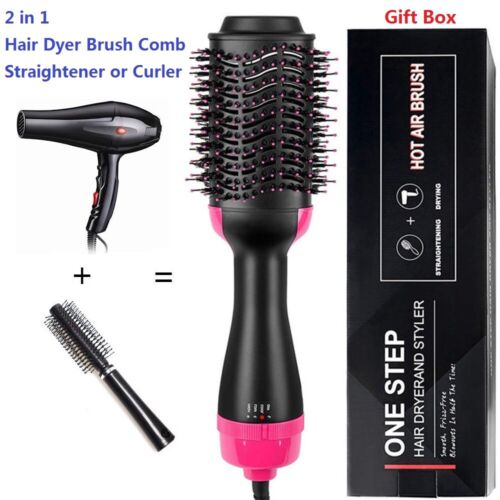 2 in 1 Straightening & Drying Hair Dryer Hair Comb Hot Air Brush New Hair Care & Styling