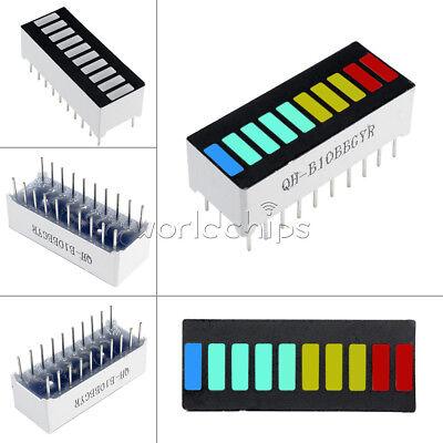 2pcs New 10 Segment Led Bargraph Light Display Blue Green Yellow Red