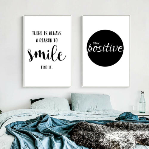2+Piece+Canvas+Prints+-+Stay+Positive+Smile+Black+and+White+Quotes+Unframed