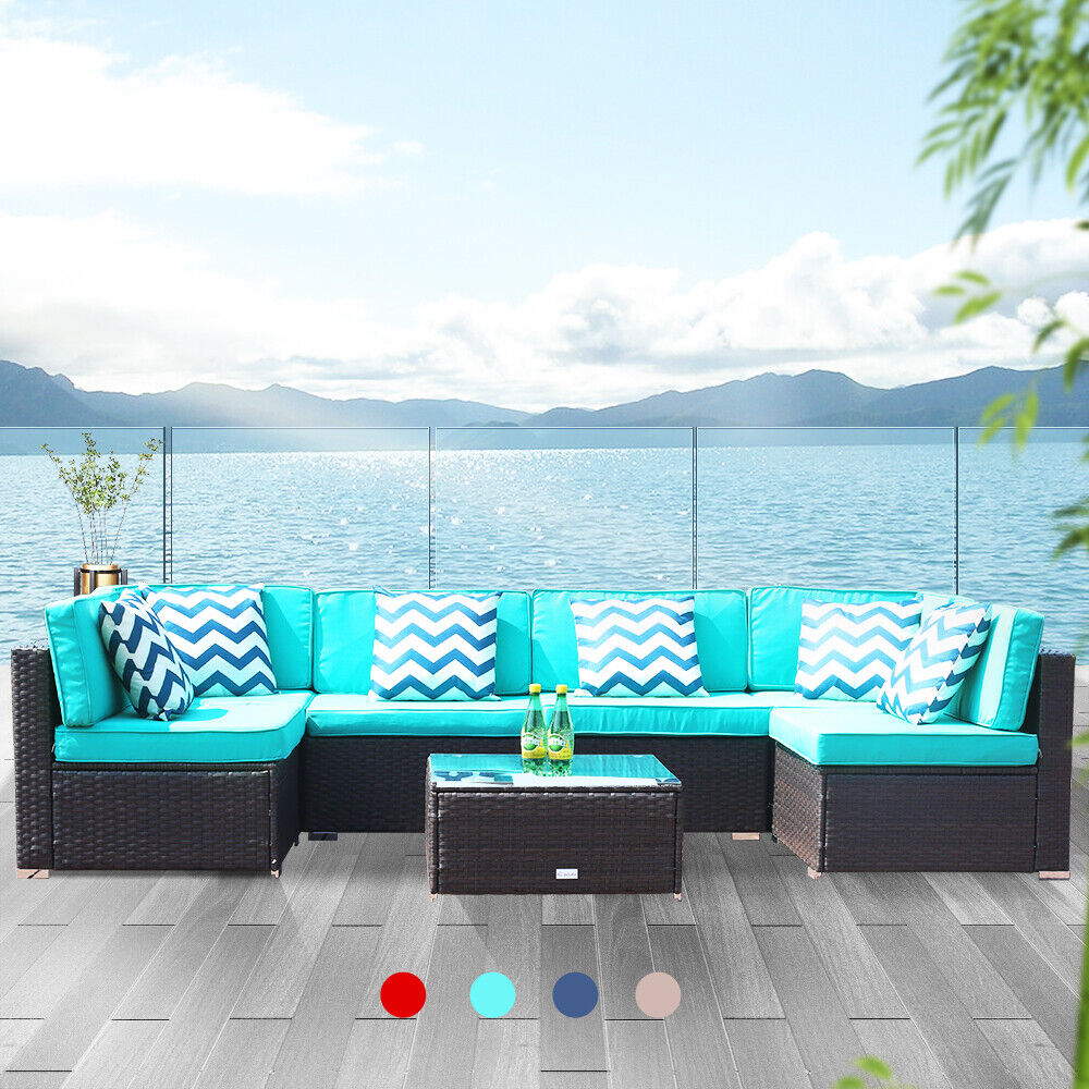 7 PCS Patio Rattan Wicker Sofa Set Cushioned Sectional Couch