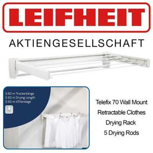NEW Leifheit 83201 Telefix 70 Wall Mount Retractable Clothes Drying Rack | 5 Drying Rods | White Condtion: New, White...