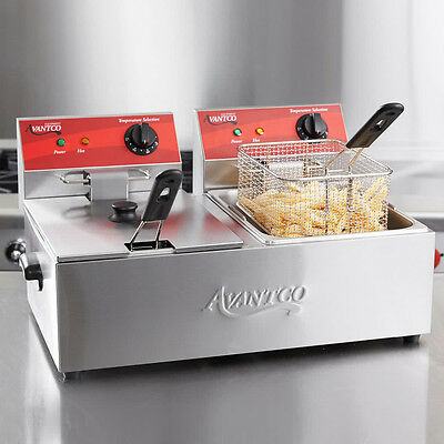 Avantco F102 20lb Dual Tank Electric Commercial Countertop Deep Fryer 120v 3500w