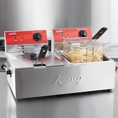 Avantco F102 20lb Dual Tank Electric Commercial Countertop Deep Fryer 120v 3500w