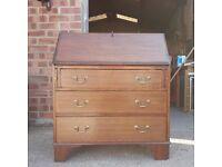 Edwardian Mahogany Bureau Writing Desk with Fruitwood Inlay Over Three Drawers