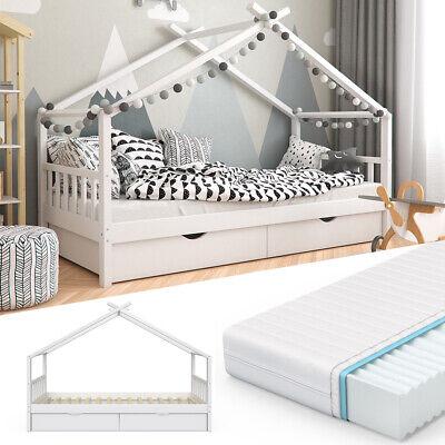VITALISPA Kinderbett DESIGN Hausbett mit Schubladen und Lattenrost weiß 90x200