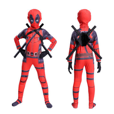Deadpool Costume Kids Spandex Lycra Zentai Bodysuit Halloween Superhero Cosplay