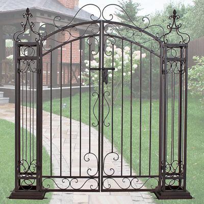 Garten Pforte Eingangs Tor Antik Stil Edel Rost Optik Doppel Flügel Stahl Tür