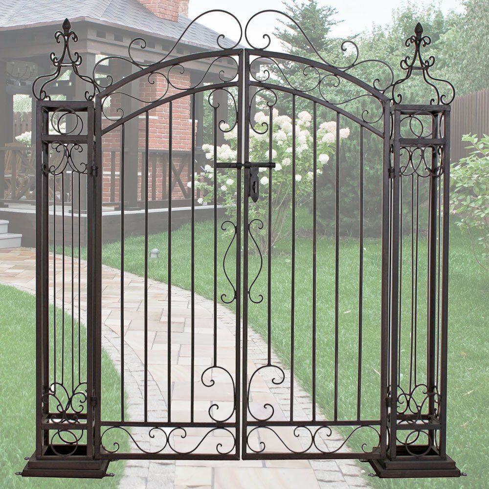 Antik Stil Garten Pforte Eingangs Flügel Tür Vintage Stahl Tor Edelrost Optik