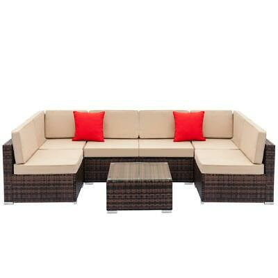 7 Pcs Outdoor Sofa Furniture Patio Rattan Wicker Sectional Sofa Set Brown