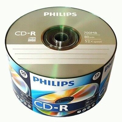100 Pack Philips Logo Brand Blank CDR CD-R 52X Disc Record 80 min 700Mb