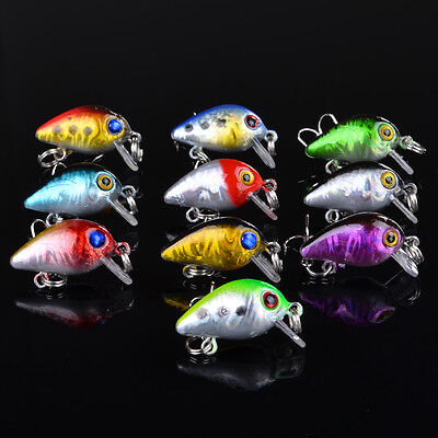 100pcs Lot Mini Crank Bait Hooks Bass CrankBaits Tackle Fishing Lures 2.6cm/1.6g