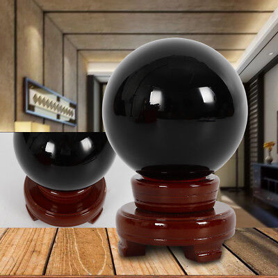 - 100MM Natural Black Obsidian Sphere Large Crystal Ball Healing w/Stand Fast Ship