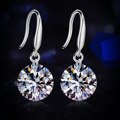 - 925 Sterling Silver CZ Dangle Drop Earrings Sapphire Earring Studs Hoop Women