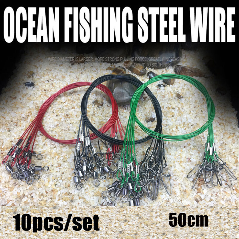 10PCS 50CM Fishing Line Steel Wire Leader With Swivel Fishing Accessory