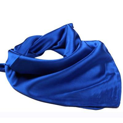 (Small Square Scarf For Ladies Satin Handkerchief Stylish Wraps Solid Color Shawl)