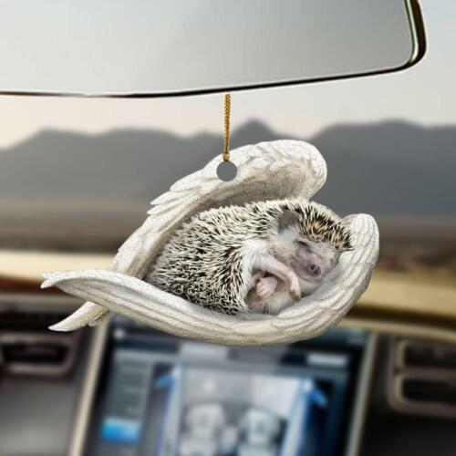 Hedgehog sleeping angel Two Sides Print Car Hanging Ornament