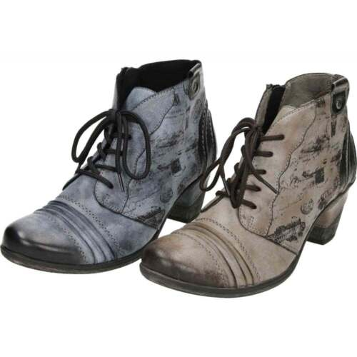 089149a4b Remonte Lace Up Zip Heel Cushioned Insole Metallic Combination Ankle Boots  D8771