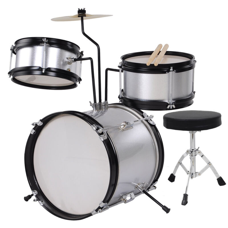 3 Pcs Complete Junior Child Drum Kids Set Cymbals Kit with Stool & Sticks Silver