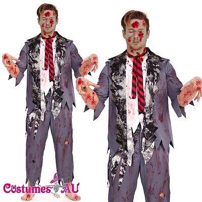 e Bloody Horror Costume School Boy Student Fancy Dress Adult (School Boy Zombie Halloween)