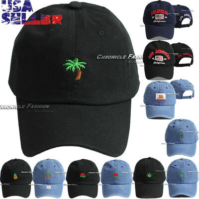 Cotton Dad Hat Baseball Cap Curved Bill Embroidered Adjustable Visor Hats Caps