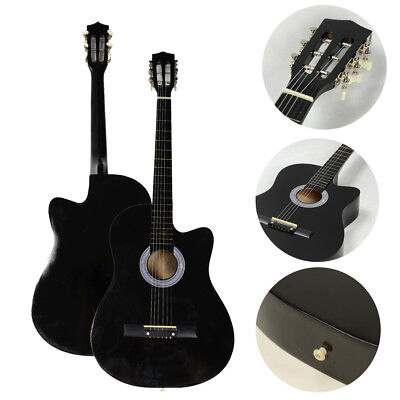 "New 38"" Black Practice 6 Strings 19 Frets Cultaway Acoustic Guitar for Beginner"