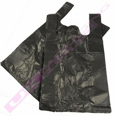 1000 x BLACK PLASTIC POLYTHENE VEST CARRIER BAGS 11x17x21