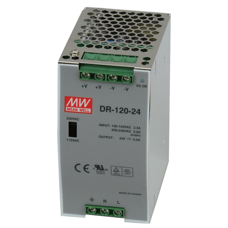 Mean Well DR-120-24 AC to DC DIN-Rail Power Supply 24 Volt 5 Amp 120 Watt