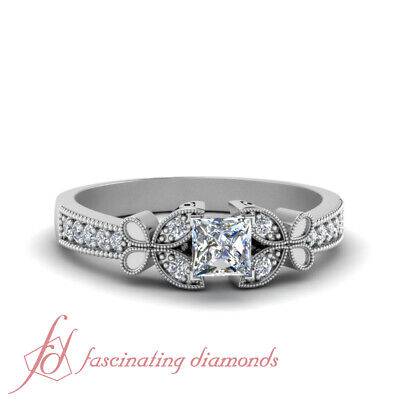 Pave Set Princess Cut Diamond Nature Inspired Engagement Ring For Women 0.75 Ctw