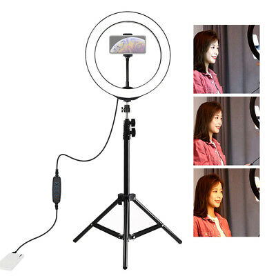"10"" LED Ring Light w/Tripod Stand for Camera Phone Selfie Live Dimmable Lighting"