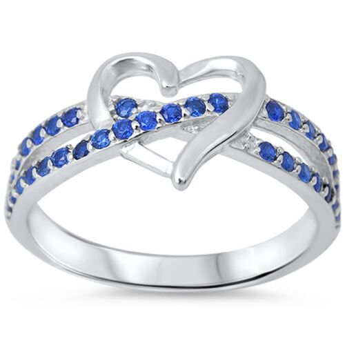 Blue Sapphire Infinity twist with heart .925 Sterling Silver