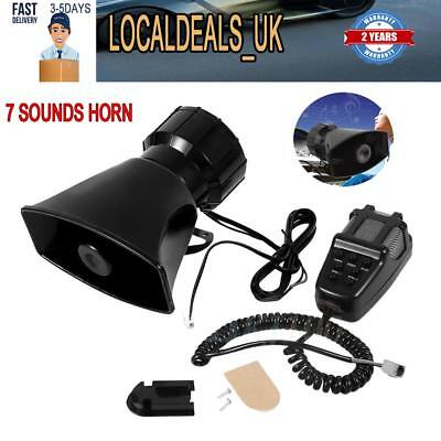 7 Tone Sound Car Police Siren Horn Megaphone with Mic PA Speaker System 12V