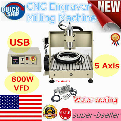 Usb 5 Axis 3040 Cnc Router Engraver Wood Milling Machine Ball Screw 800w Motor