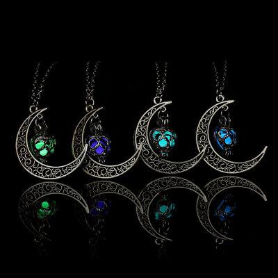 Crescent Sailor Half Moon Glow In The Dark Pendant Necklace Women