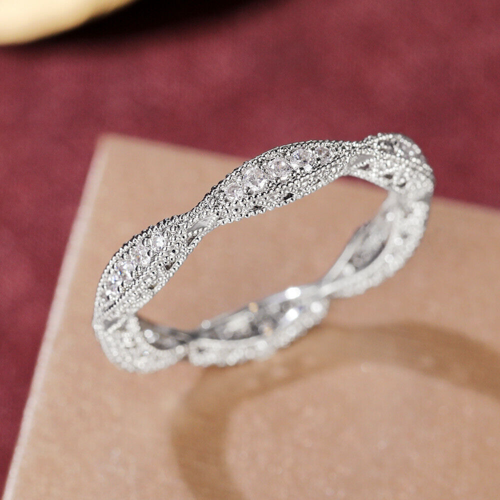 925 Silver Rings for Women Fashion White Sapphire Wedding Jewelry Sz 6-10