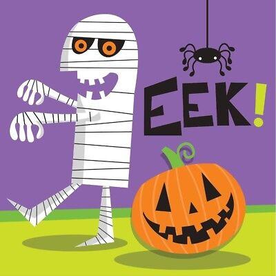 Creepy Characters 16 Ct Beverage Napkins Halloween Party Mummy EEK! - Halloween Party Beverages