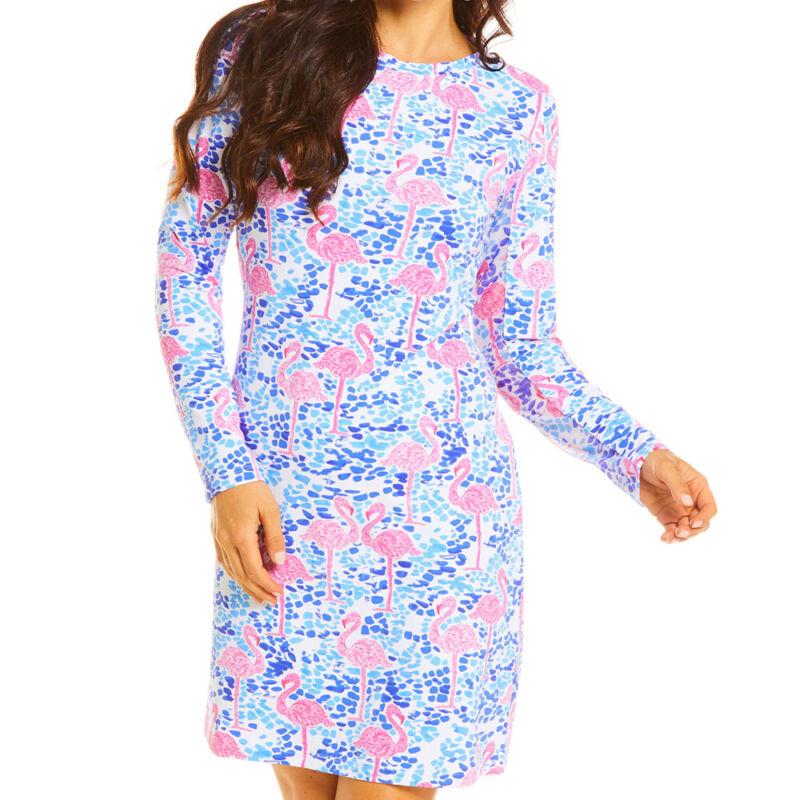 IBKUL Ladies Long Sleeve Crew Neck Dress - Flamingo Print