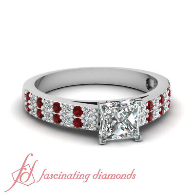 .84 TCW. Princess Cut Diamond & Red Ruby Double Row Pave Set Engagement Ring GIA