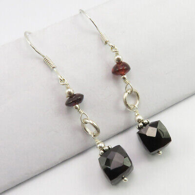 Natural Black Onyx, Garnet Beads French Wire Earrings 925 Solid Silver Garnet French Wire Earrings