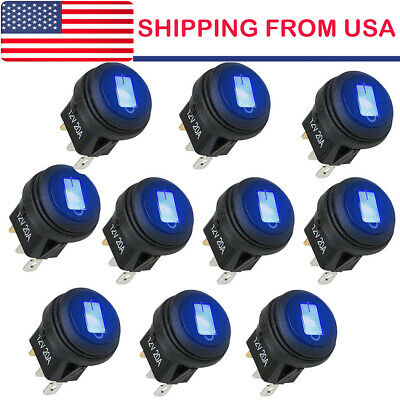 10 Rocker Switches 12v Round Toggle Onoff 20a Car Snap In Switch Blue Led