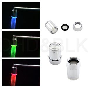 Temperature Sensor LED Light Water Stream Faucet Tap 3 Color RGB Glow Shower US