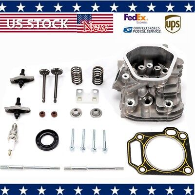 Assembled Cylinder Head Kit Cylinder Head Assembled+Rocker Arms Inlet and Exhaust Valves+Spark Plug Auto Cylinder Assembly Repair Rebuild Kit fit for Honda GX240 GX270