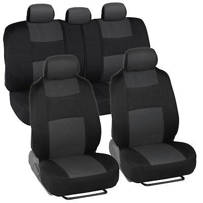 Car Seat Covers for Honda Civic Sedan Coupe Charcoal & Black Split Bench