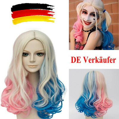 Quinn Perücke Farbverlauf Haare Wig Halloween Kostüme Neu (Harley Quinn Kostüme)