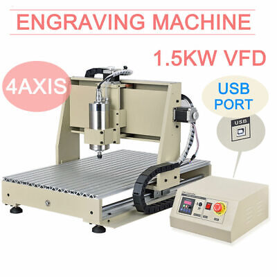 4 Axis 1.5kw Spindlevfd Usb 6040 Engraver Cnc Router Milling Drilling Machine